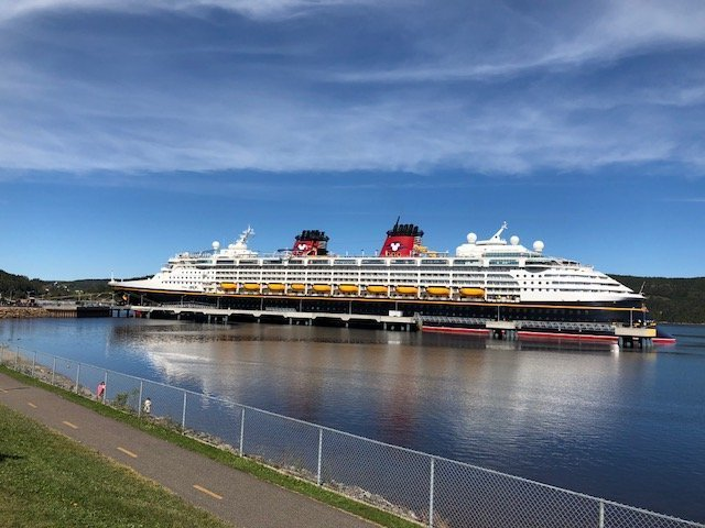 disney cruise line magic cruise ship in port in Saguenay, Canada