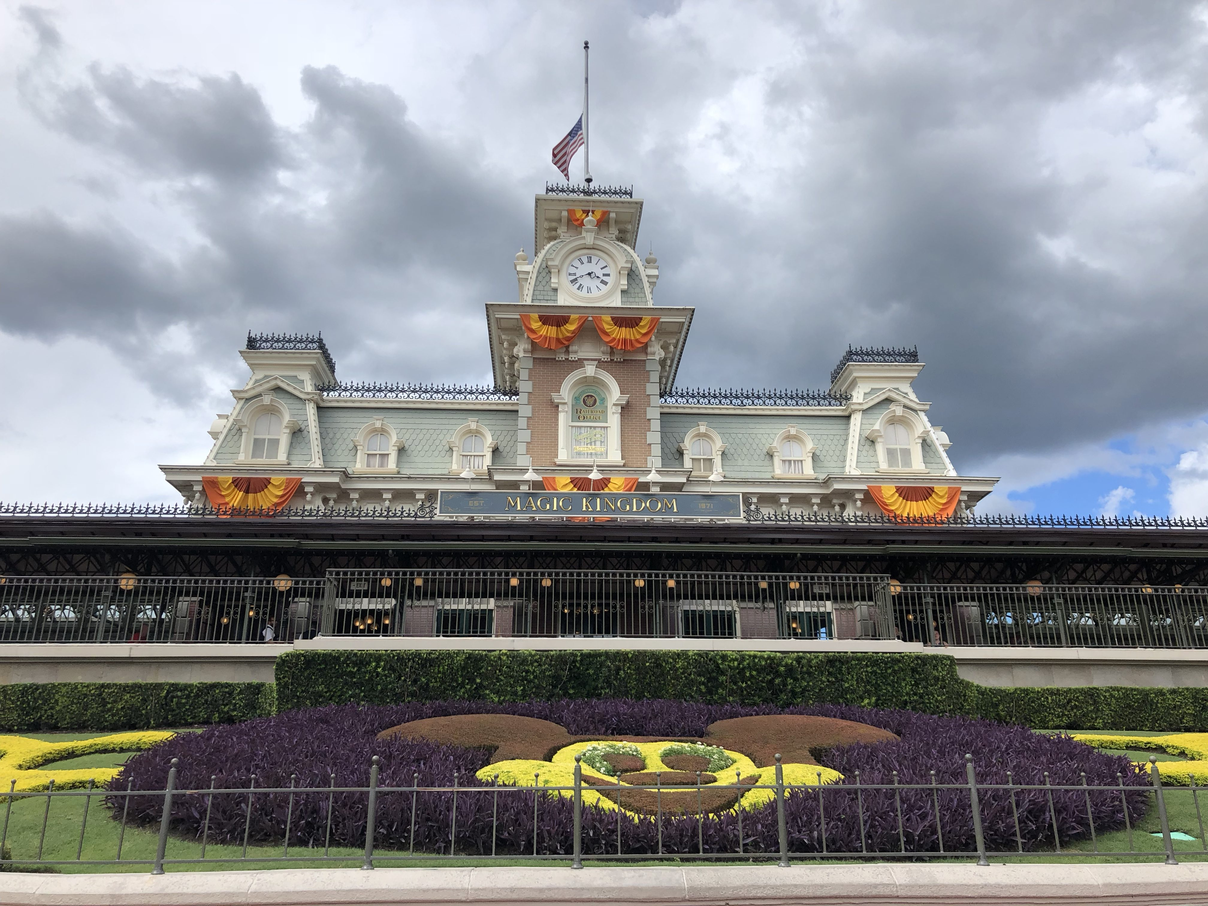 rain clouds abouve the train station at the entrance to the Magic Kingsom at Walt Disney World