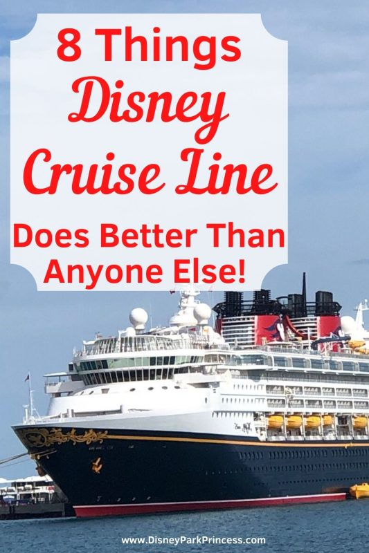 Disney Cruise Line is different in so many ways from other cruise lines. Learn the Top 8 Things that Makes Disney Cruise Line better than other cruise lines for a family vacation! #disneycruise #disneycruiseline #cruisingtips #travel #disneycruisetips