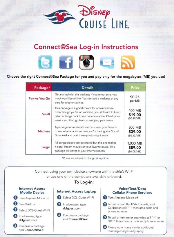 Disney Cruise Line internet packages