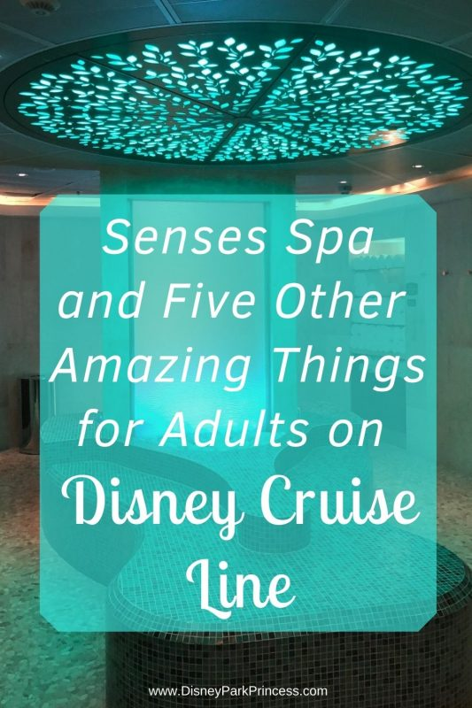 Disney Cruise Line is not just for kids! Learn our top 6 favorite things for adults ONLY on Disney Cruise Line! From the spa to a private beach on Castaway Cay, there is something for everyone. #disneycruise #disneycruiseline #sensesspa #disneycruiselineforadults