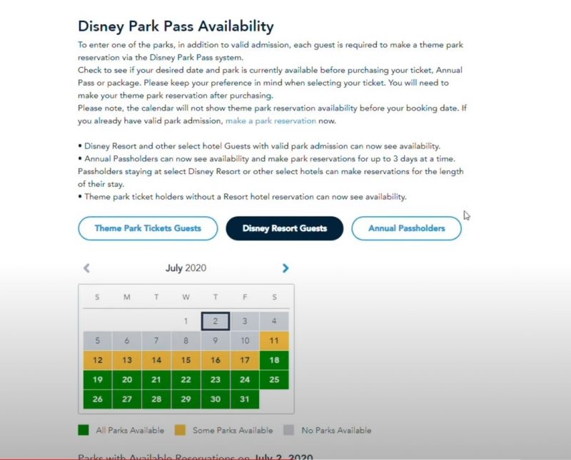 Park Pass My Disney Experience Availability