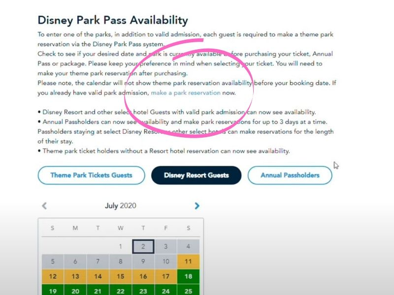 Park Pass My Disney Experience Make a Reservation