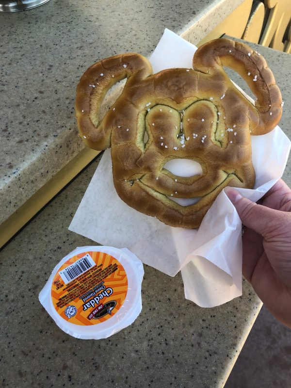 Mickey Pretzel with Cheese Sauce Disney's Hollywood Studios Favorite Things to Eat